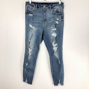 Aeropostale High Rise Ankle Jeggings Distressed 14